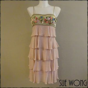 Sue Wong tiered silk dress